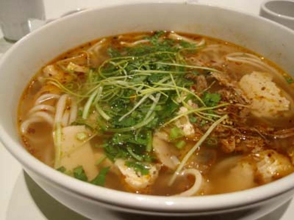 """Photo of CLOSED: Quan Bo De Cuisine Vegetarienne  by <a href=""""/members/profile/Babette"""">Babette</a> <br/>Vegetarian Viet Spicy Soup. Out of this world <br/> January 14, 2014  - <a href='/contact/abuse/image/42200/62486'>Report</a>"""