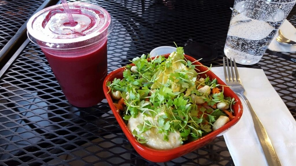 """Photo of Ola Juice Bar  by <a href=""""/members/profile/AprilJ"""">AprilJ</a> <br/>Red Immunity Juice and Quinoa Bowl <br/> March 22, 2016  - <a href='/contact/abuse/image/42234/140986'>Report</a>"""