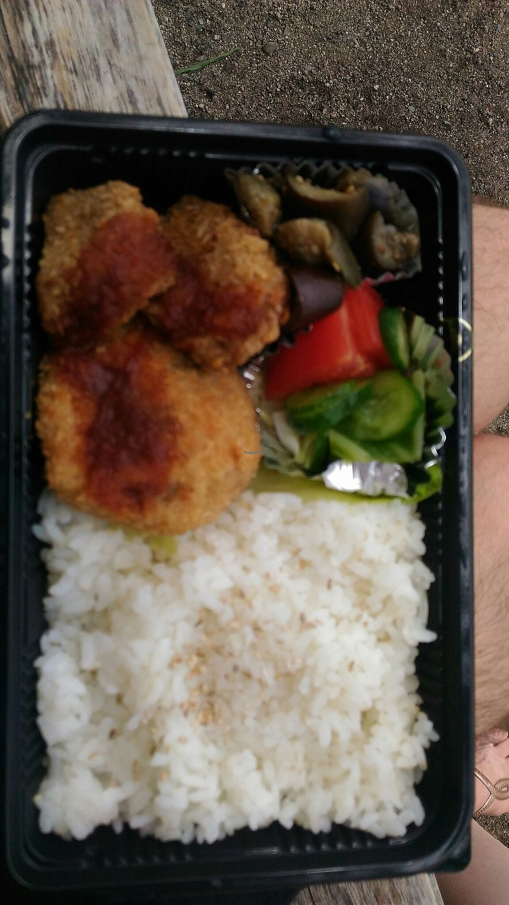 "Photo of Earth Kitchen  by <a href=""/members/profile/Erwin"">Erwin</a> <br/>soybean and wheat gluten croquettes bento <br/> July 21, 2017  - <a href='/contact/abuse/image/42268/282716'>Report</a>"