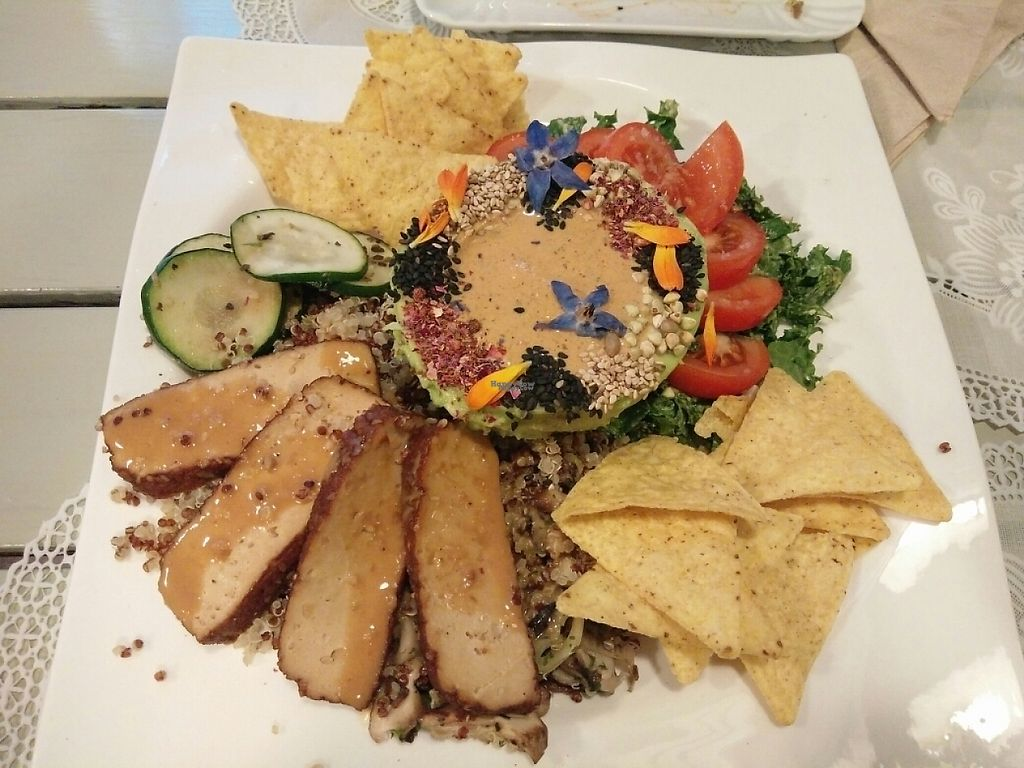 """Photo of Rayen Vegano  by <a href=""""/members/profile/martinicontomate"""">martinicontomate</a> <br/>stuffed avocado with quinoa and nachos <br/> December 11, 2016  - <a href='/contact/abuse/image/42279/199906'>Report</a>"""