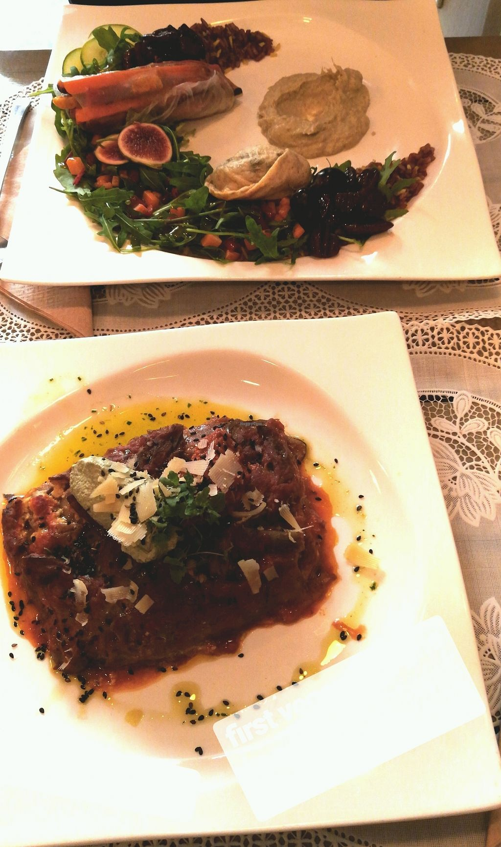 """Photo of Rayen Vegano  by <a href=""""/members/profile/LenaMarie"""">LenaMarie</a> <br/>vegan lasagne & kale spinach dumpling with salad <br/> September 24, 2017  - <a href='/contact/abuse/image/42279/307811'>Report</a>"""