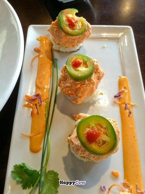 "Photo of Kabuki  by <a href=""/members/profile/spiceislandvegan"">spiceislandvegan</a> <br/>Spicy tofu on crispy rice <br/> October 27, 2013  - <a href='/contact/abuse/image/42297/57407'>Report</a>"