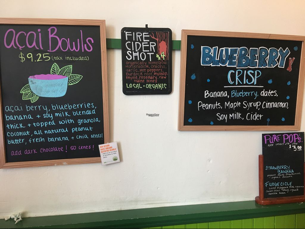 """Photo of Maine Squeeze Juice Cafe  by <a href=""""/members/profile/Nourished"""">Nourished</a> <br/>fun menu items <br/> August 12, 2016  - <a href='/contact/abuse/image/42299/167955'>Report</a>"""