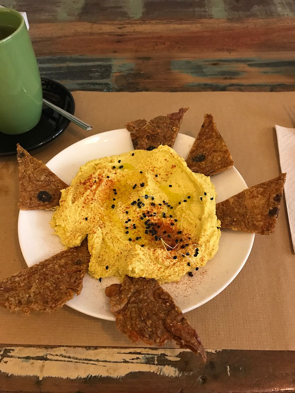 """Photo of El Cafe Blueproject  by <a href=""""/members/profile/JFlah"""">JFlah</a> <br/>raw hummus and chips <br/> August 8, 2017  - <a href='/contact/abuse/image/42332/290420'>Report</a>"""