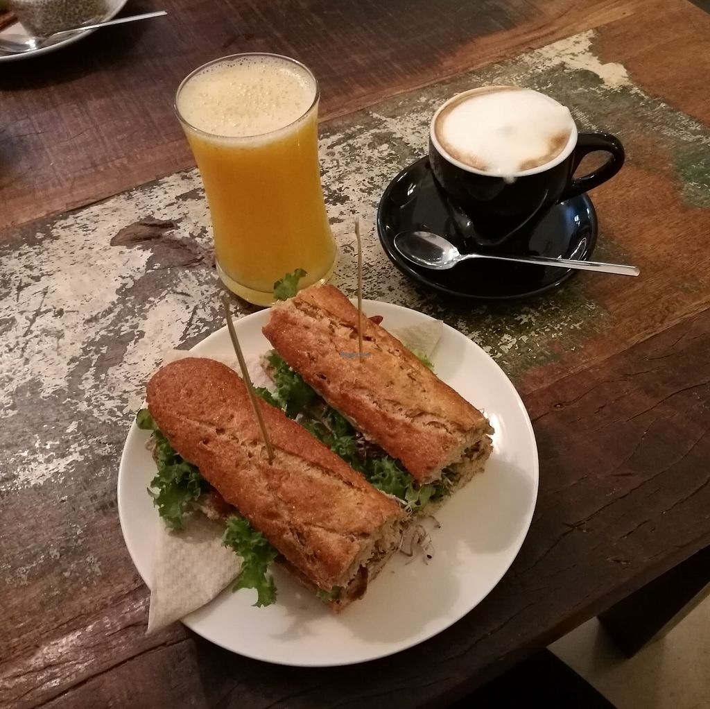 "Photo of El Cafe Blueproject - temporarily closed  by <a href=""/members/profile/Kaisa"">Kaisa</a> <br/>Grilled tofu sandwich, orange juice and coffee with soy milk <br/> October 1, 2017  - <a href='/contact/abuse/image/42332/310603'>Report</a>"