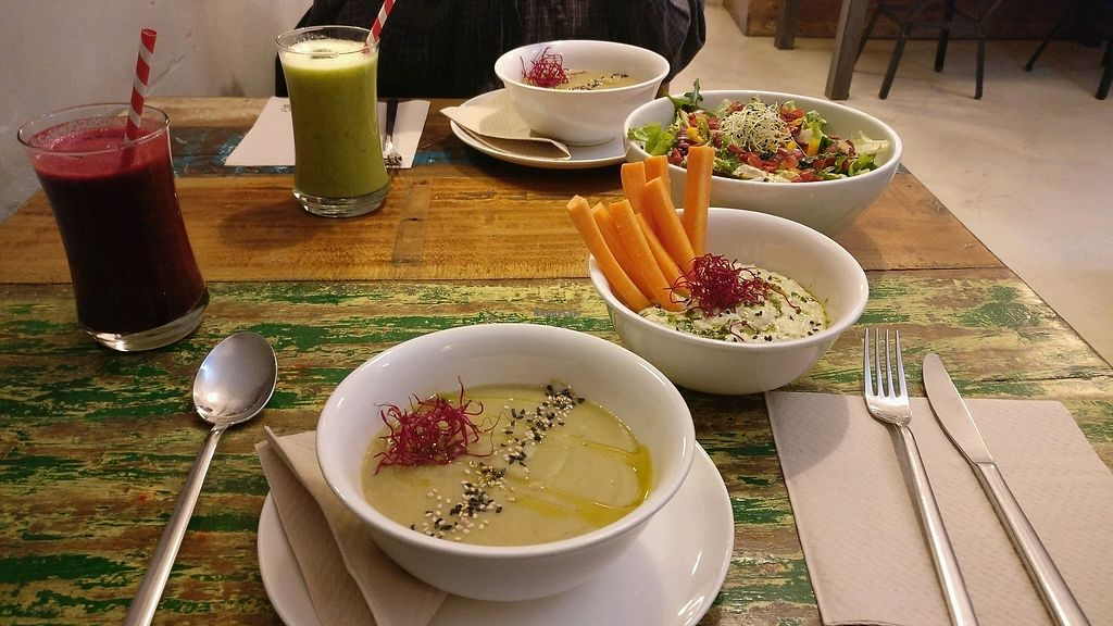 """Photo of El Cafe Blueproject  by <a href=""""/members/profile/GreenVeganGbg"""">GreenVeganGbg</a> <br/>Soup with a super tasty hummus! <br/> February 7, 2018  - <a href='/contact/abuse/image/42332/356074'>Report</a>"""