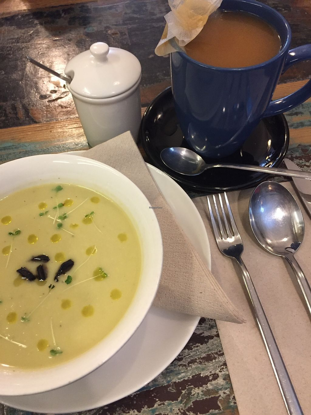 "Photo of El Cafe Blueproject - temporarily closed  by <a href=""/members/profile/JeffKontur"">JeffKontur</a> <br/>Black garlic soup <br/> March 31, 2018  - <a href='/contact/abuse/image/42332/378721'>Report</a>"