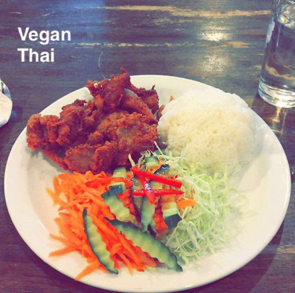 """Photo of Sunflower Thai Vegetarian Restaurant  by <a href=""""/members/profile/Kgrisel"""">Kgrisel</a> <br/>Crispy Fried Mock Meat (soy) with rice and veggies. so good! <br/> February 5, 2017  - <a href='/contact/abuse/image/4236/275078'>Report</a>"""