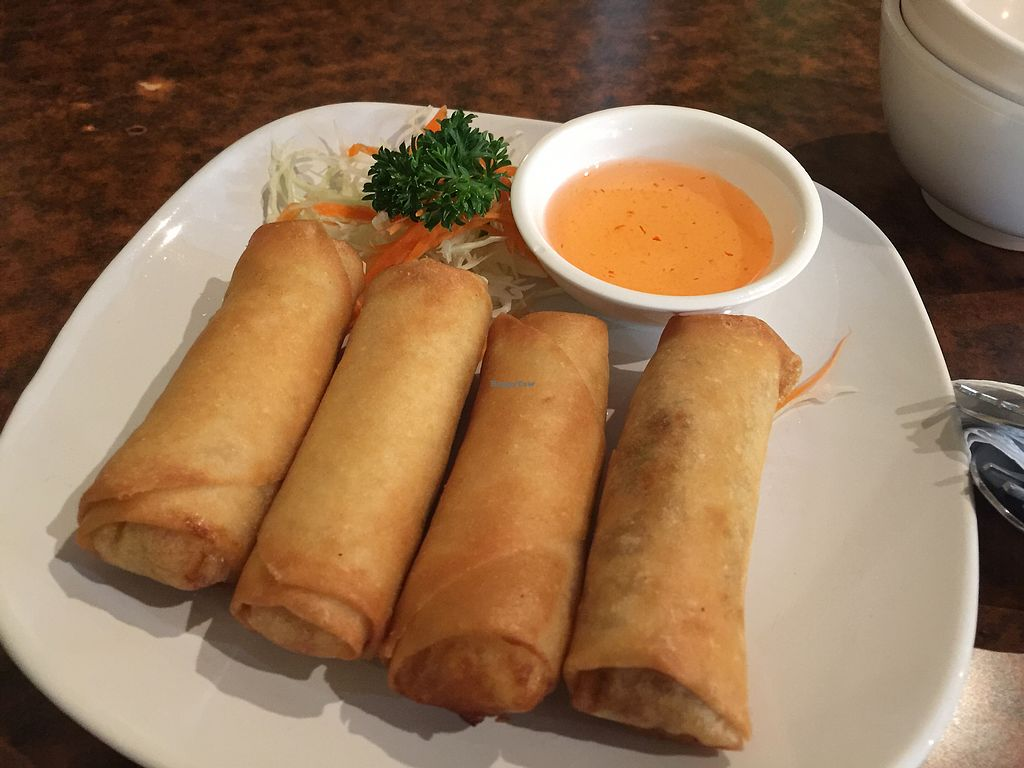 """Photo of Sunflower Thai Vegetarian Restaurant  by <a href=""""/members/profile/Tiggy"""">Tiggy</a> <br/>Spring rolls $8 - nice <br/> December 23, 2017  - <a href='/contact/abuse/image/4236/338327'>Report</a>"""