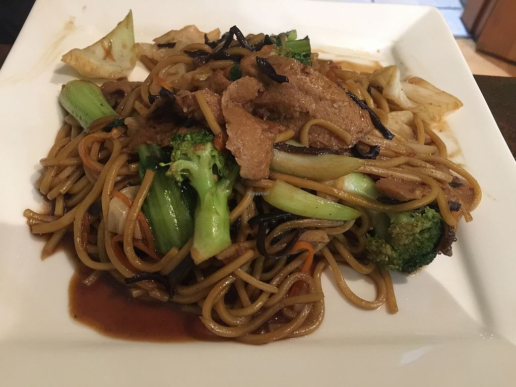 """Photo of Sunflower Thai Vegetarian Restaurant  by <a href=""""/members/profile/Tiggy"""">Tiggy</a> <br/>Fried noodles with chicken and vegetable $14 - Nice but mock chicken unconvincing <br/> December 23, 2017  - <a href='/contact/abuse/image/4236/338329'>Report</a>"""
