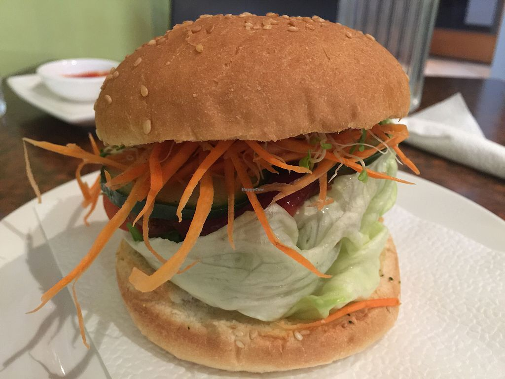 """Photo of Sunflower Thai Vegetarian Restaurant  by <a href=""""/members/profile/Tiggy"""">Tiggy</a> <br/>Chicken burger $8.50 - Junk food fix but seen better mock chicken <br/> December 31, 2017  - <a href='/contact/abuse/image/4236/341339'>Report</a>"""