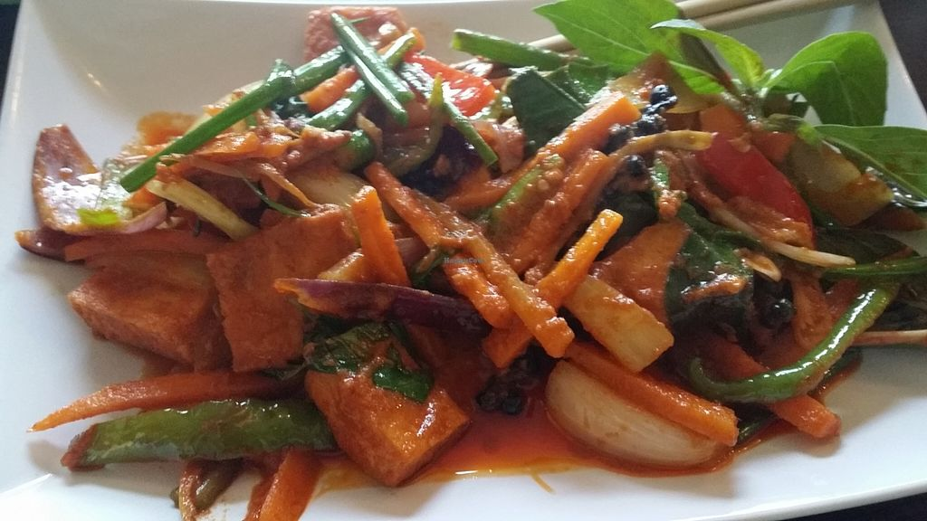 """Photo of Soi Saam  by <a href=""""/members/profile/theveganandroid"""">theveganandroid</a> <br/>Tofu with chili sauce (ask for 'biff med chili saus' vegan)  <br/> September 20, 2015  - <a href='/contact/abuse/image/42438/118520'>Report</a>"""
