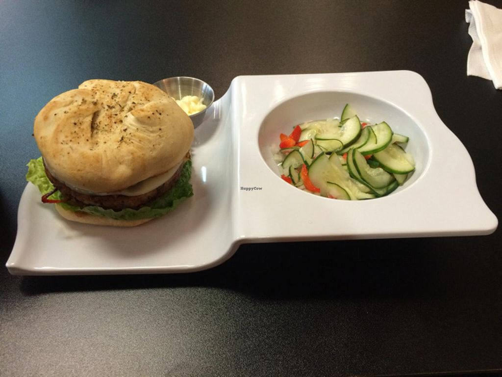 """Photo of Stations Cafe  by <a href=""""/members/profile/JuliaGulia"""">JuliaGulia</a> <br/>Vegetarian Burger with Cucumber salad - fresh baked bun - to die for!! <br/> February 24, 2015  - <a href='/contact/abuse/image/42463/94066'>Report</a>"""