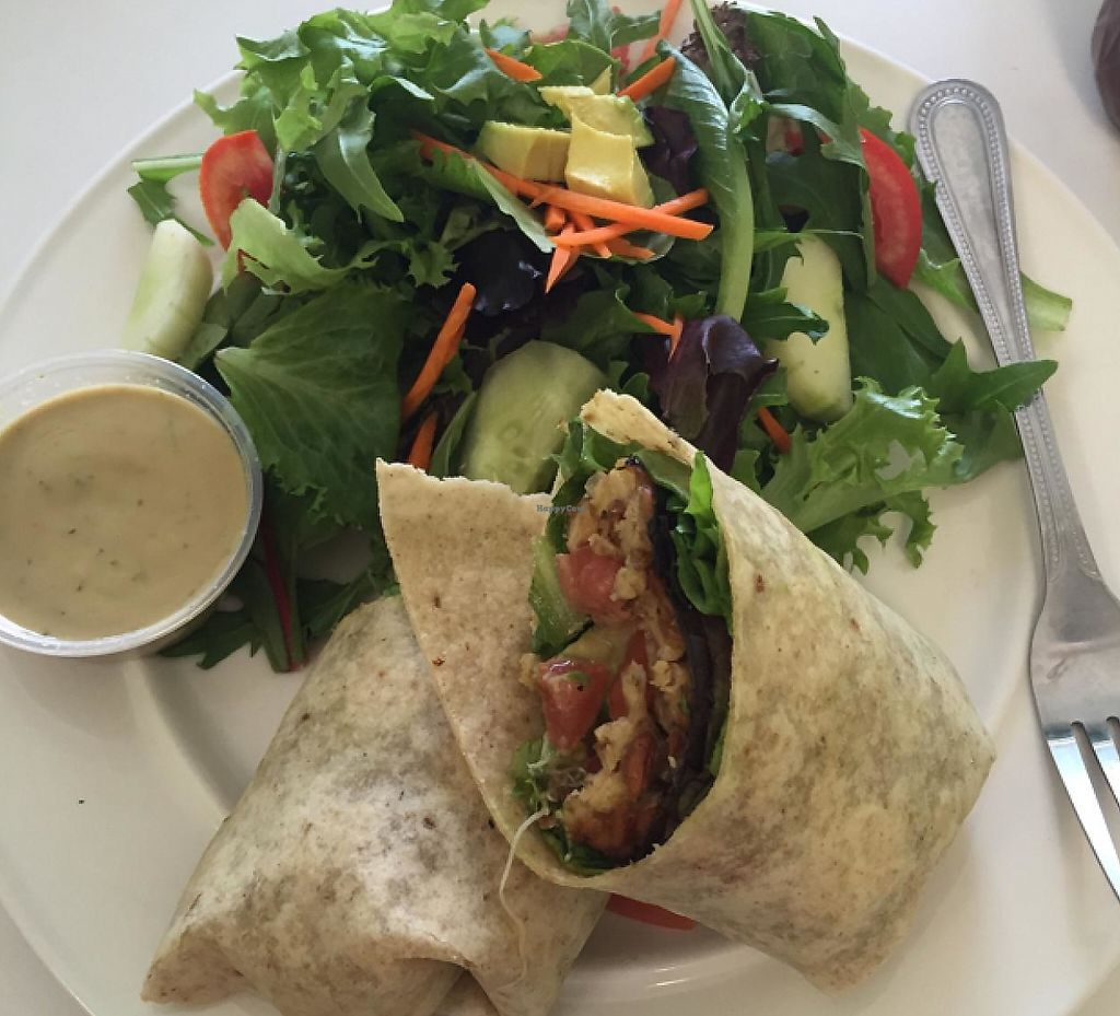 "Photo of Creative Juices Natural Cafe  by <a href=""/members/profile/Kris10mo"">Kris10mo</a> <br/>Tempeh BLT on a gluten free wrap.  side salad with tahini dressing <br/> June 22, 2015  - <a href='/contact/abuse/image/42565/197536'>Report</a>"