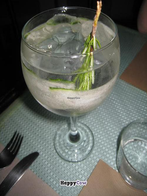 """Photo of Sesamo  by <a href=""""/members/profile/Wine%20Lover"""">Wine Lover</a> <br/>Cucumber & rosemary gin and tonic <br/> July 18, 2013  - <a href='/contact/abuse/image/4256/51432'>Report</a>"""