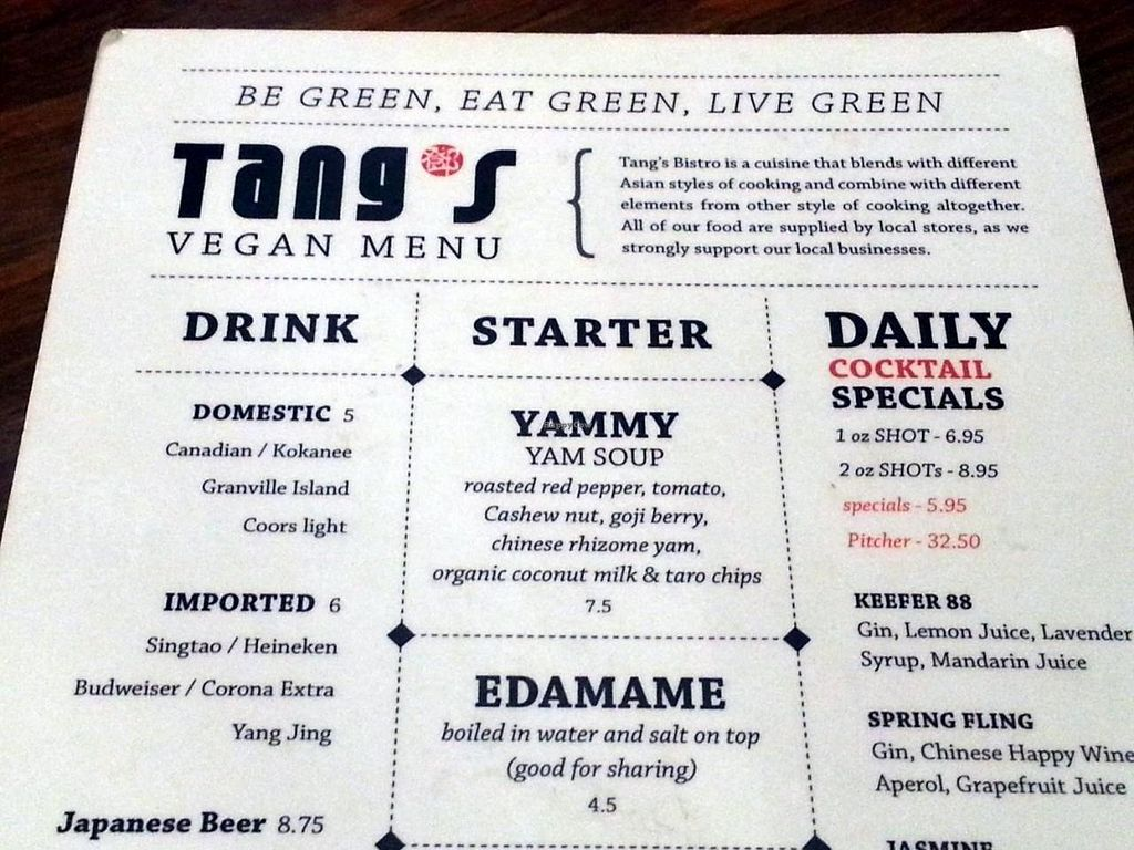 """Photo of CLOSED: Tang's Bistro  by <a href=""""/members/profile/eric"""">eric</a> <br/>vegan menu <br/> July 28, 2014  - <a href='/contact/abuse/image/42593/75318'>Report</a>"""