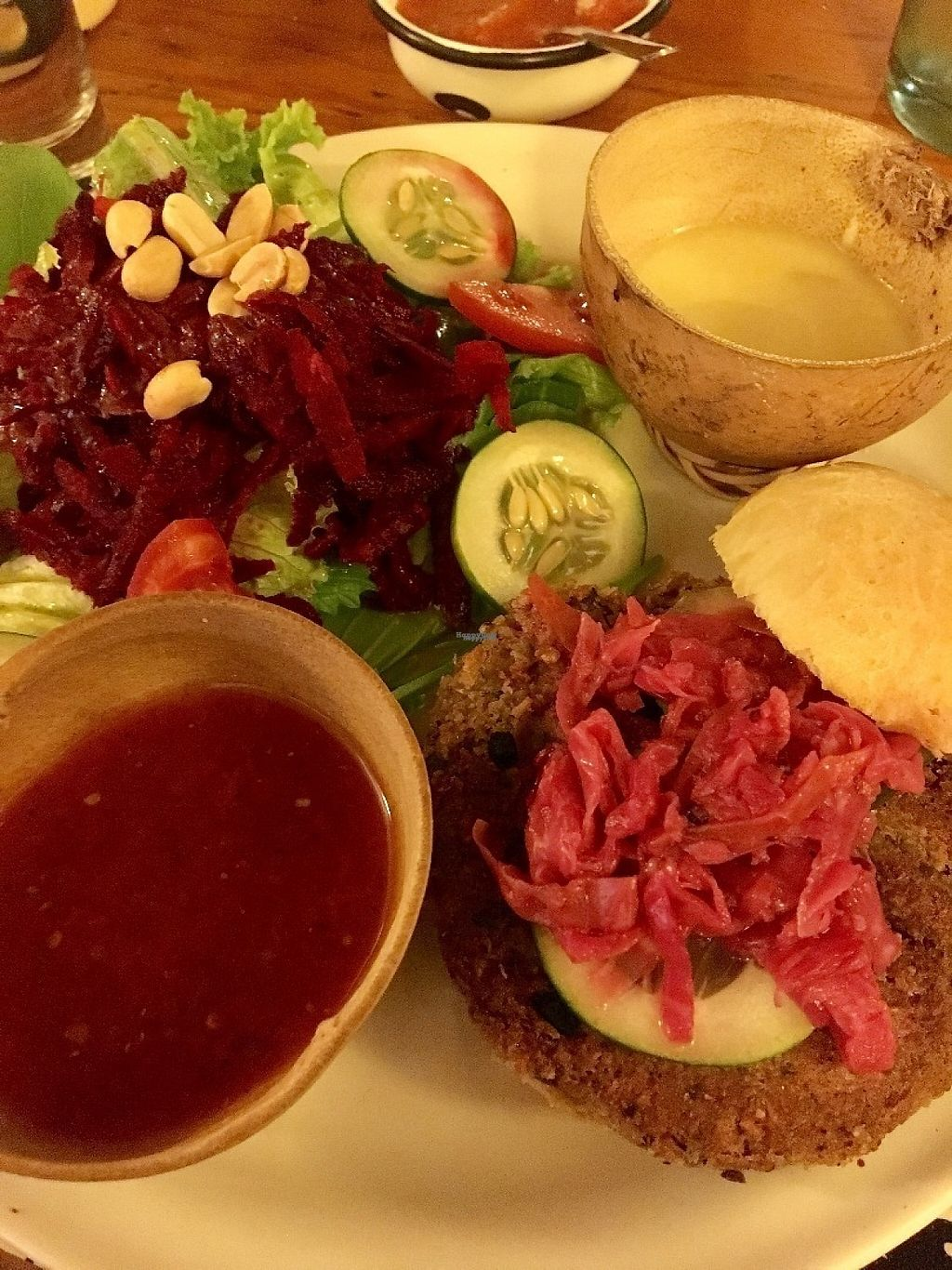 """Photo of Calabacitas Tiernas  by <a href=""""/members/profile/instantxkarmaa"""">instantxkarmaa</a> <br/>The veggie burger with a shaved beet salad <br/> February 8, 2017  - <a href='/contact/abuse/image/42595/224458'>Report</a>"""