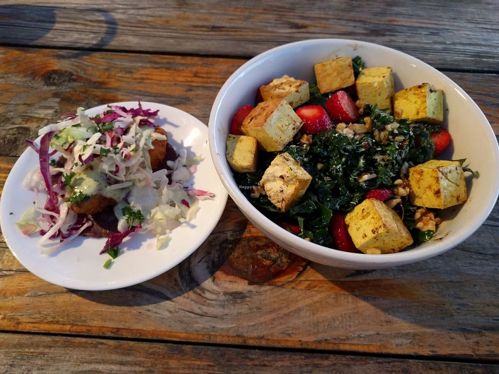 """Photo of Seabirds Kitchen  by <a href=""""/members/profile/Sonja%20and%20Dirk"""">Sonja and Dirk</a> <br/>beer battered avo taco and strawberry kale salad with tofu <br/> March 24, 2016  - <a href='/contact/abuse/image/42600/141186'>Report</a>"""