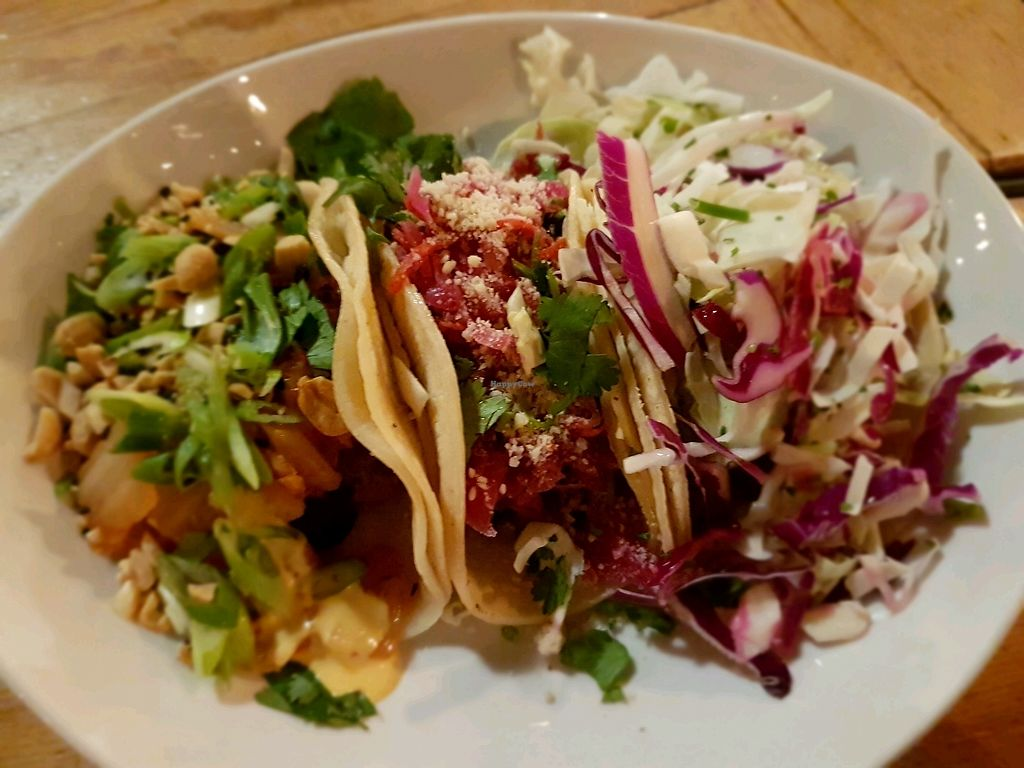 """Photo of Seabirds Kitchen  by <a href=""""/members/profile/AmberBug"""">AmberBug</a> <br/>3 kinds of tacos - marinated mushroom, beer-battered avocado and kimchi jackfruit.  <br/> February 27, 2018  - <a href='/contact/abuse/image/42600/364386'>Report</a>"""