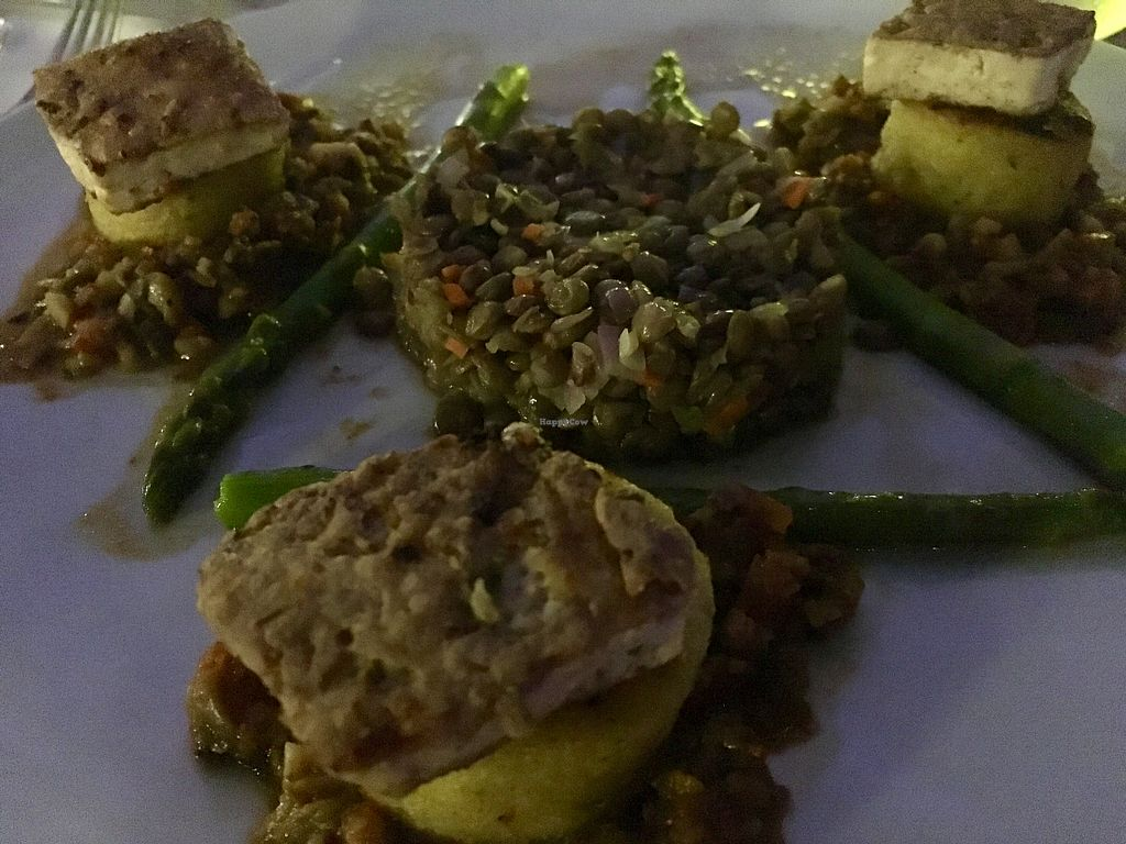 "Photo of Elements Restaurant  by <a href=""/members/profile/mike1366"">mike1366</a> <br/>Polenta galettes, tofu, lentils, and asparagus  <br/> January 27, 2018  - <a href='/contact/abuse/image/42626/351331'>Report</a>"