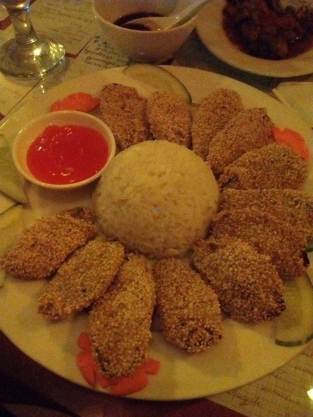 """Photo of Aubergine Cafe  by <a href=""""/members/profile/VeganGecko"""">VeganGecko</a> <br/>Deep fried eggplant with sesame  <br/> June 24, 2017  - <a href='/contact/abuse/image/42628/272774'>Report</a>"""