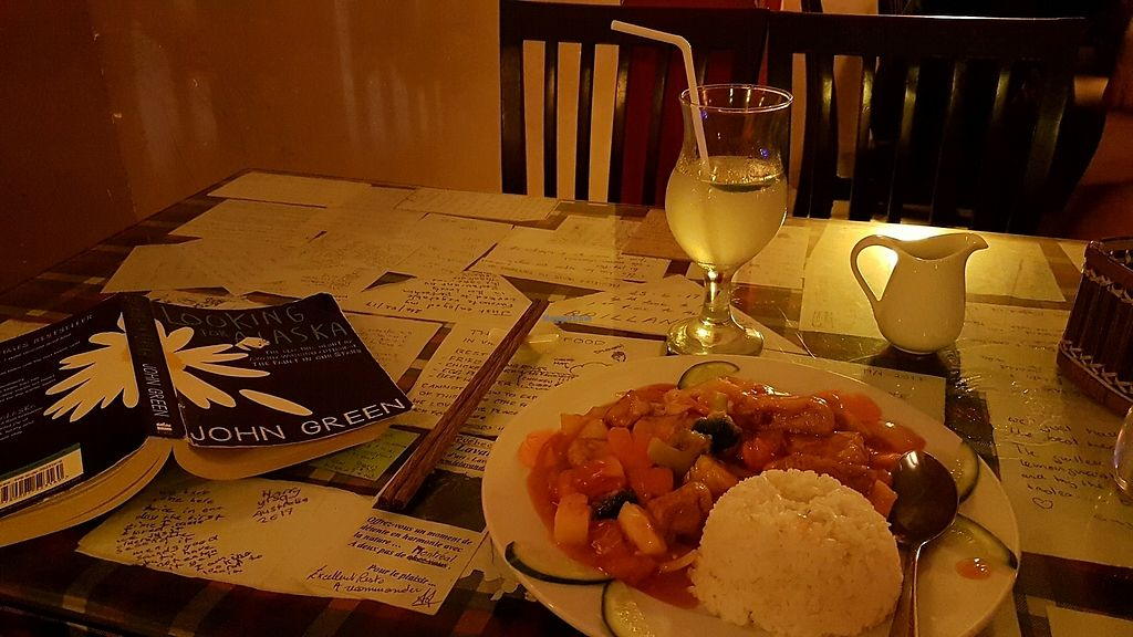"""Photo of Aubergine Cafe  by <a href=""""/members/profile/aggiem"""">aggiem</a> <br/>Sweet & sour, rice, fried tofu and lemon <br/> October 28, 2017  - <a href='/contact/abuse/image/42628/319502'>Report</a>"""