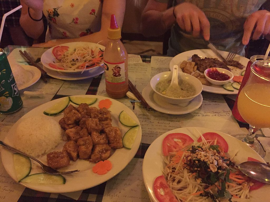 """Photo of Aubergine Cafe  by <a href=""""/members/profile/DanishVeggieLover%F0%9F%8C%B1%F0%9F%A4%93"""">DanishVeggieLover🌱🤓</a> <br/>Papaya salad, veggie soup and caramel tofu with rice ☺️ <br/> November 16, 2017  - <a href='/contact/abuse/image/42628/326235'>Report</a>"""