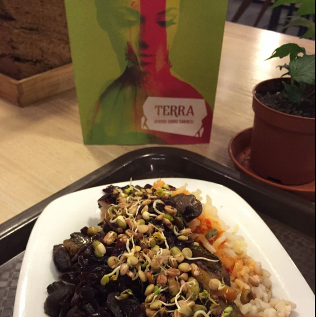 """Photo of Terra  by <a href=""""/members/profile/TheEverydayVegan"""">TheEverydayVegan</a> <br/>barley, potato and mushroom dish with warm vegetables and sprouts sprinkled on top <br/> August 11, 2015  - <a href='/contact/abuse/image/42644/113178'>Report</a>"""