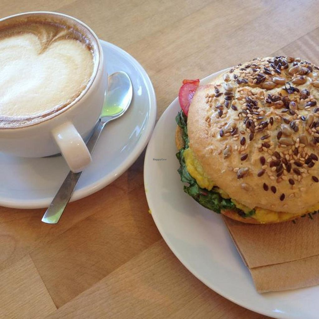 """Photo of Goodies Berlin - Veganz  by <a href=""""/members/profile/Pitanguinha"""">Pitanguinha</a> <br/>'no-egg-salad' bagel and soy capuccino, so yummy!  <br/> July 18, 2014  - <a href='/contact/abuse/image/42665/74338'>Report</a>"""