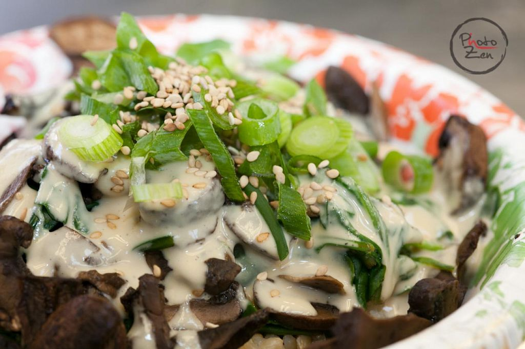 """Photo of CLOSED: Electric Blue Elephant - Food Truck  by <a href=""""/members/profile/KatieDiLibero"""">KatieDiLibero</a> <br/>Macro Bowl                                           Marinated Portabella, Steamed Kale, Chard & Spinach atop Coconut Turmeric Brown Rice <br/> July 8, 2014  - <a href='/contact/abuse/image/42689/73576'>Report</a>"""