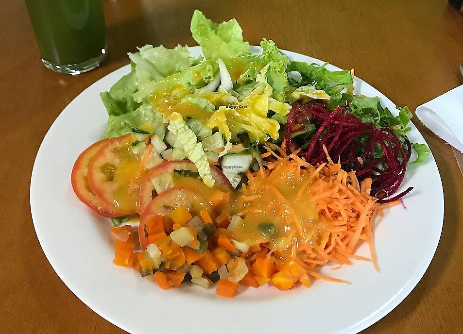 "Photo of O Vegetariano  by <a href=""/members/profile/Paolla"">Paolla</a> <br/>Juice and salad <br/> September 27, 2017  - <a href='/contact/abuse/image/42715/317859'>Report</a>"
