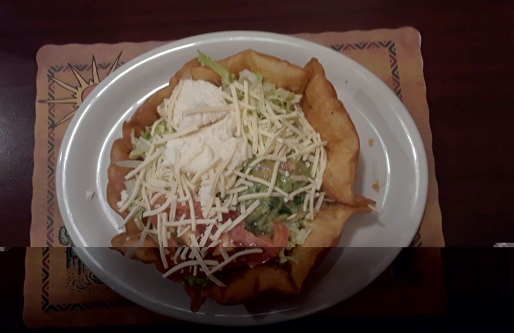 "Photo of La Quesadilla Mexican Grill  by <a href=""/members/profile/RosieTheVegan"">RosieTheVegan</a> <br/>Vegetarian taco salad but with vegan cheese and vegan sour cream!!! <br/> February 20, 2018  - <a href='/contact/abuse/image/42789/361530'>Report</a>"