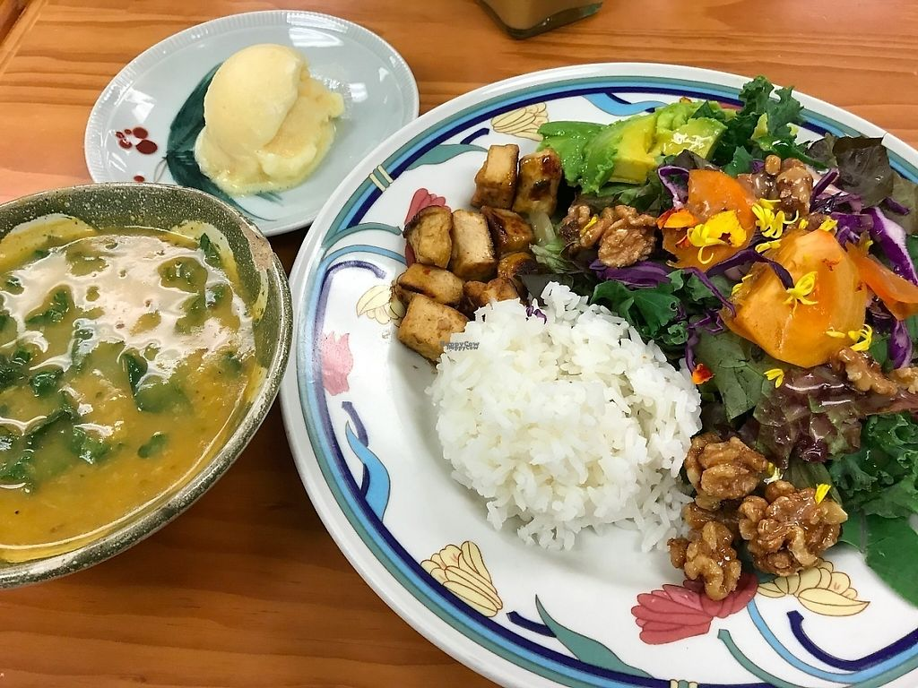 """Photo of Roots Cafe  by <a href=""""/members/profile/lkong"""">lkong</a> <br/>Kabocha soup, sorbet, salad with tofu, persimmon, candied walnuts <br/> December 12, 2016  - <a href='/contact/abuse/image/42790/200167'>Report</a>"""