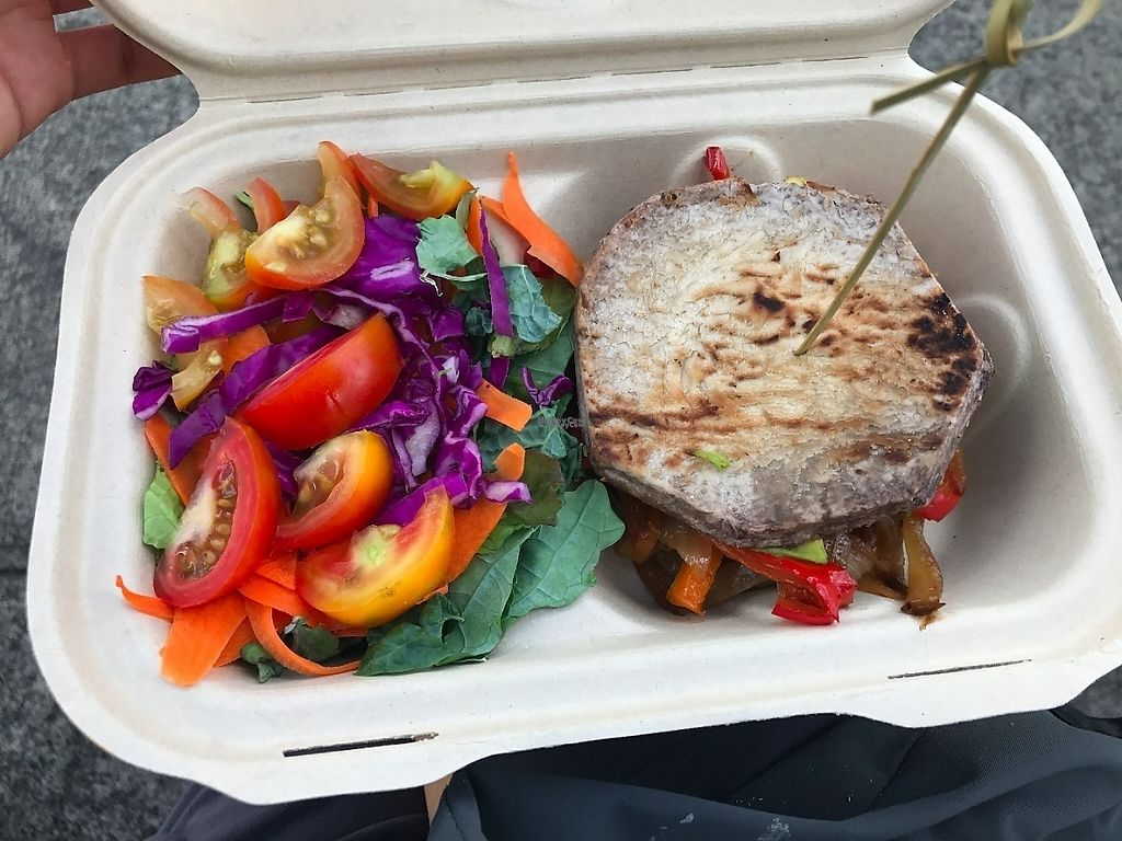 """Photo of Roots Cafe  by <a href=""""/members/profile/lkong"""">lkong</a> <br/>Kalo (taro) sandwich, with avocado, roasted red peppers and onions, side salad <br/> December 12, 2016  - <a href='/contact/abuse/image/42790/200176'>Report</a>"""