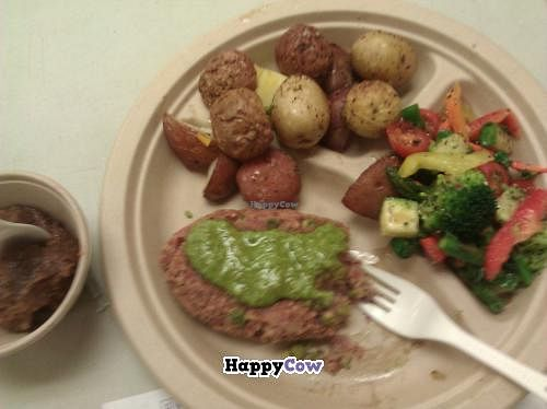 """Photo of Roots Cafe  by <a href=""""/members/profile/Star%20Thrower"""">Star Thrower</a> <br/>Sweet potato, quinoa and chick pea patties! Veggies, steamed potatoes and a coconut milk taro dessert! $10...YUM!! <br/> November 8, 2013  - <a href='/contact/abuse/image/42790/58163'>Report</a>"""