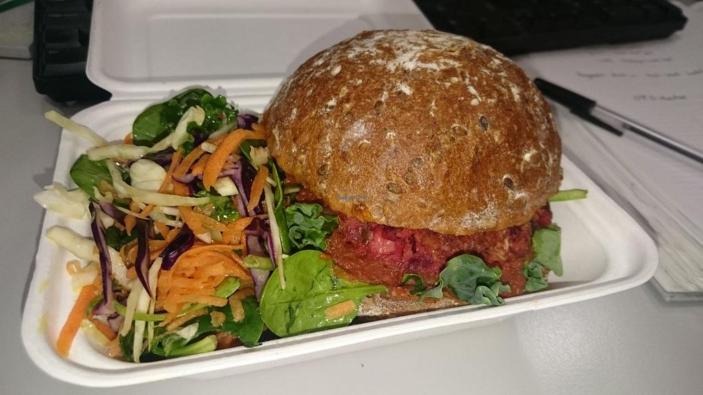 """Photo of Rupert's Street - Mobile Food Van  by <a href=""""/members/profile/robz"""">robz</a> <br/>Beetroot and chickpea burger <br/> April 30, 2015  - <a href='/contact/abuse/image/42802/100726'>Report</a>"""
