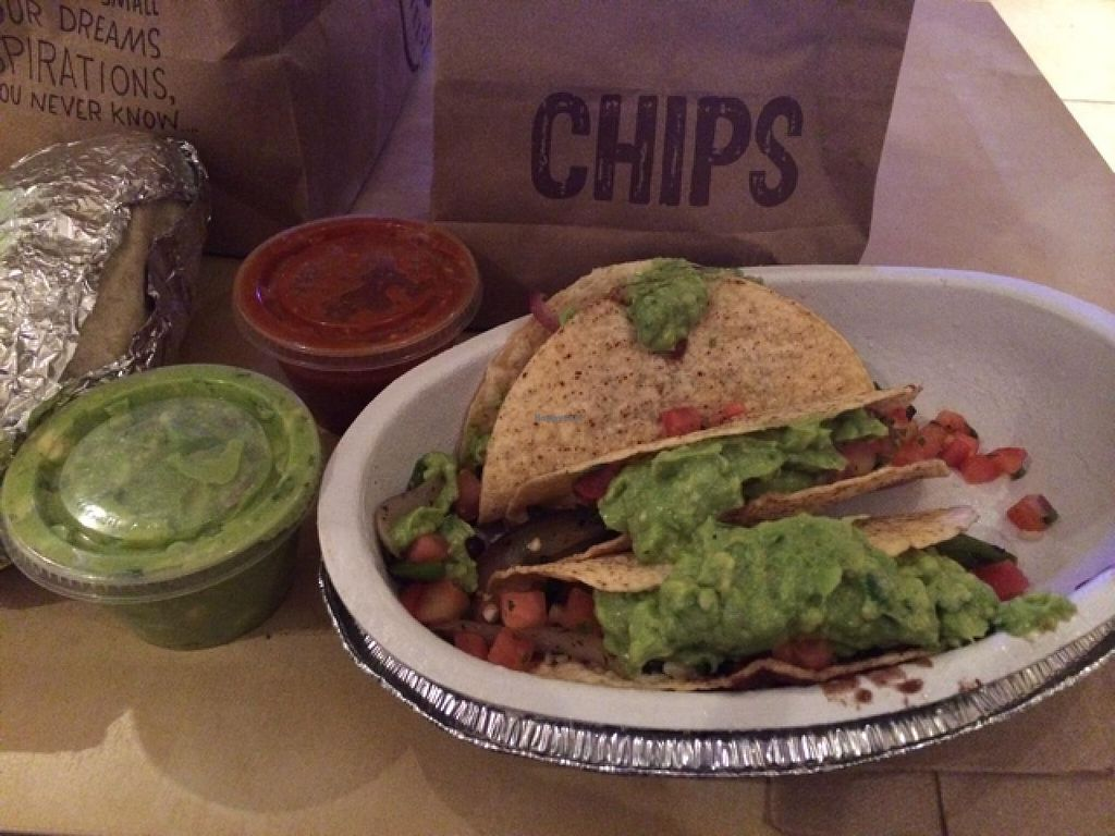 """Photo of Chipotle  by <a href=""""/members/profile/kmilitello"""">kmilitello</a> <br/>Veg tacos to go <br/> March 3, 2014  - <a href='/contact/abuse/image/42819/65192'>Report</a>"""