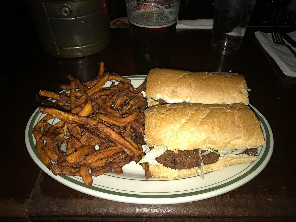 "Photo of Khyber Pass Pub  by <a href=""/members/profile/DanielleNau"">DanielleNau</a> <br/>Vegan sausage sandwich w/ sweet potato fries <br/> December 18, 2017  - <a href='/contact/abuse/image/42851/336701'>Report</a>"