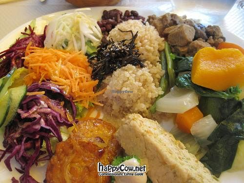 """Photo of CLOSED: Les Cinq Saveurs d'Anada  by <a href=""""/members/profile/Babette"""">Babette</a> <br/>Assiette complete decouverte(Complete discovery plate) : Vegan dish with seitan, tofu and tempeh <br/> March 13, 2012  - <a href='/contact/abuse/image/4285/29322'>Report</a>"""