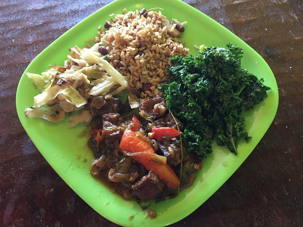 """Photo of Kale Cafe  by <a href=""""/members/profile/clovely.vegan"""">clovely.vegan</a> <br/>Vegan value meal with brown stew tofu! <br/> October 21, 2015  - <a href='/contact/abuse/image/42862/122044'>Report</a>"""