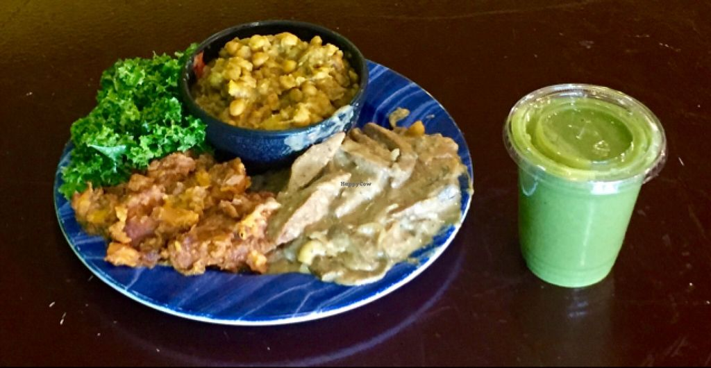 """Photo of Kale Cafe  by <a href=""""/members/profile/MattSpann1024"""">MattSpann1024</a> <br/>Kale Cafe Vegan Value Meal: Seitan Marsala w/ Curry Channa, Kale Salad and Cinnamon-Apple Yams. Green Stuff Smoothie.  <br/> May 7, 2016  - <a href='/contact/abuse/image/42862/147926'>Report</a>"""