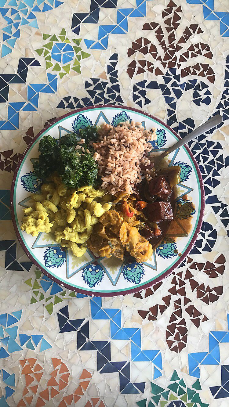 """Photo of Kale Cafe  by <a href=""""/members/profile/jackthecameraguyy"""">jackthecameraguyy</a> <br/>value plate with kale salad, Mac, seitan, tofu, and rice <br/> August 22, 2017  - <a href='/contact/abuse/image/42862/295995'>Report</a>"""