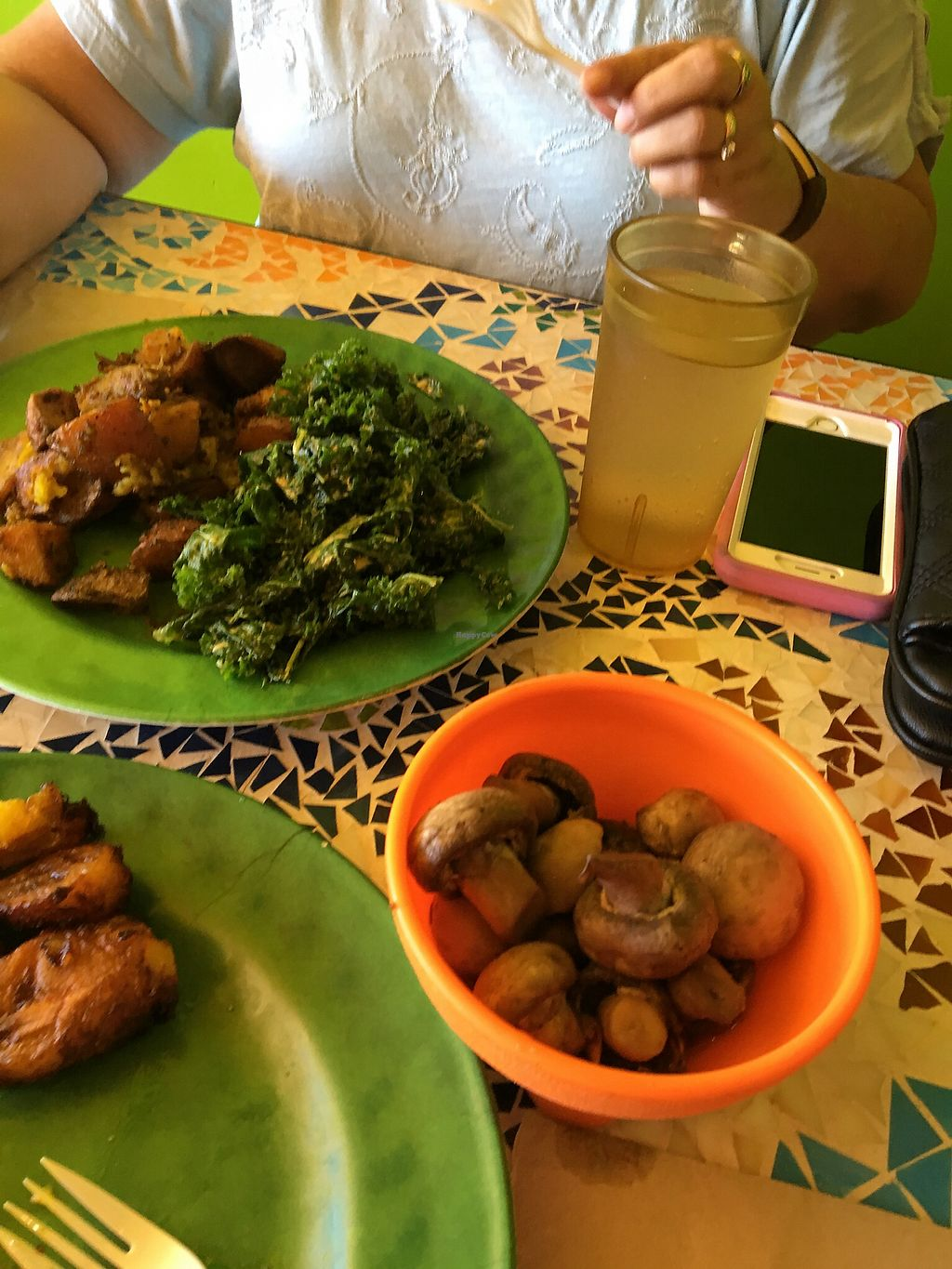 """Photo of Kale Cafe  by <a href=""""/members/profile/mikey725"""">mikey725</a> <br/>Spicy mushrooms, kale salad and potatoes  <br/> October 17, 2017  - <a href='/contact/abuse/image/42862/316195'>Report</a>"""