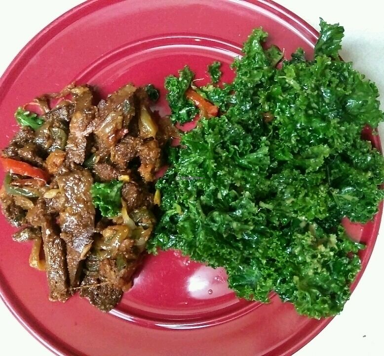 """Photo of Kale Cafe  by <a href=""""/members/profile/TinaGeorge003"""">TinaGeorge003</a> <br/>Barbecue seitan and Kale salad.  <br/> December 30, 2017  - <a href='/contact/abuse/image/42862/341084'>Report</a>"""