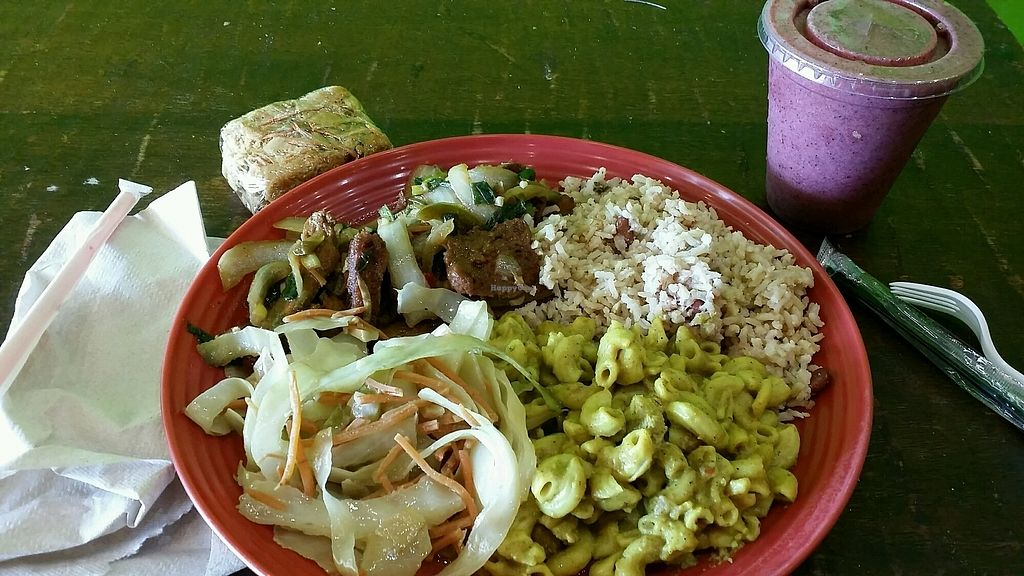 """Photo of Kale Cafe  by <a href=""""/members/profile/maltinej"""">maltinej</a> <br/>Delicious #vegan lunch at kale cafe. #seitan brown stew with rice and beans, mac n cheez and veggies. A piece of carrot cake and a fruit smoothie <br/> February 23, 2018  - <a href='/contact/abuse/image/42862/362839'>Report</a>"""