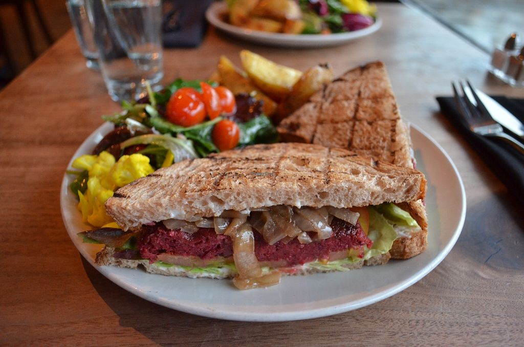 """Photo of CLOSED: The Plant Cafe Organic Cafe  by <a href=""""/members/profile/alexandra_vegan"""">alexandra_vegan</a> <br/>The veggie burger with sandwich bread (you have 3 options of bread) <br/> March 6, 2016  - <a href='/contact/abuse/image/42868/139061'>Report</a>"""