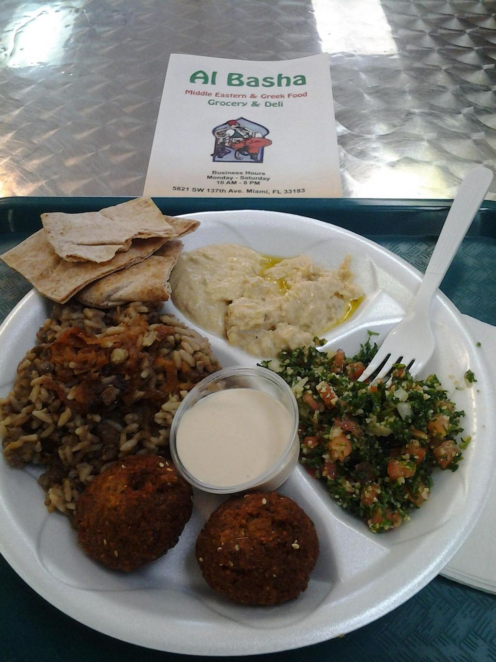 """Photo of El Basha Grocery and Deli  by <a href=""""/members/profile/Veggie%20Salvadorean"""">Veggie Salvadorean</a> <br/>This is the Veggie Combo Plate. Very tasty, but a shame they use Styrofoam <br/> July 26, 2014  - <a href='/contact/abuse/image/42883/75213'>Report</a>"""
