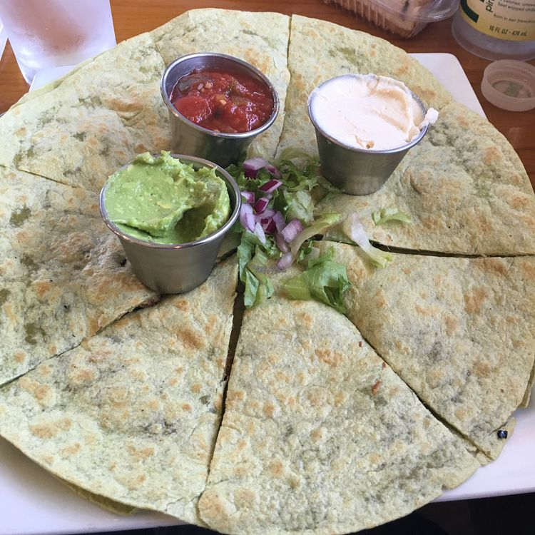 """Photo of The Olive Branch Cafe  by <a href=""""/members/profile/AimeeS"""">AimeeS</a> <br/>Chick'n & Broccoli Quesadilla <br/> August 31, 2016  - <a href='/contact/abuse/image/42885/172538'>Report</a>"""