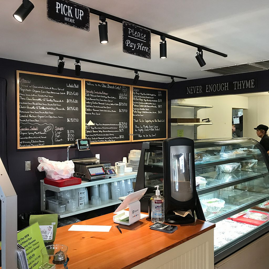 """Photo of The Olive Branch Cafe  by <a href=""""/members/profile/Sarah%20P"""">Sarah P</a> <br/>Menu counter <br/> September 25, 2017  - <a href='/contact/abuse/image/42885/308235'>Report</a>"""