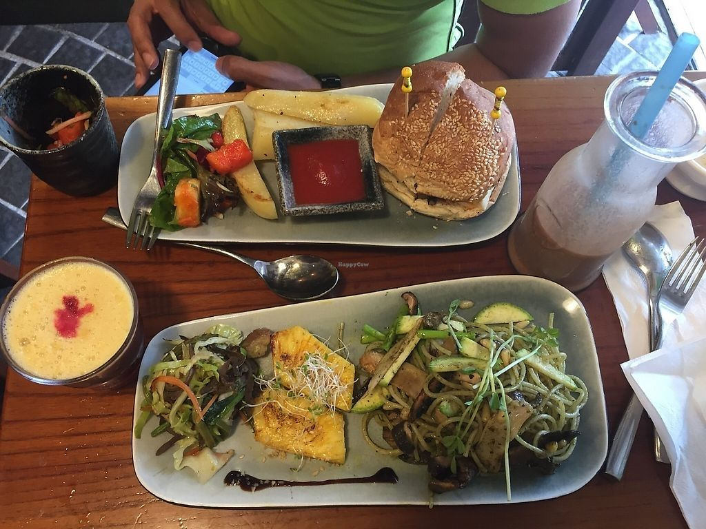 "Photo of Veggie Spinner  by <a href=""/members/profile/Ashni"">Ashni</a> <br/>Yummy veggie burger (with Sheeze) and spaghetti dish  <br/> June 4, 2017  - <a href='/contact/abuse/image/42888/265581'>Report</a>"